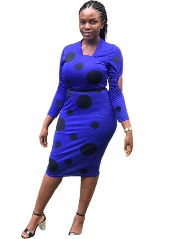 Vestido midi a lunares africano azul y negro