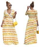 Batik Desenli Uzun Kollu Sarma Maksi Elbise