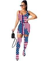 Vestido sexy sin mangas con estampado de bandera de dos piezas