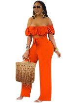 Sexy Orange Strapless Cut Out Knot Jumpsuit