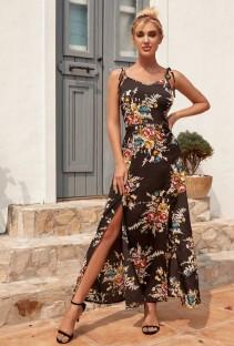 Vestido largo de verano con tirantes negros y aberturas florales