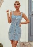 Hellblaue Jeansriemen Minikleid