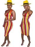 Vestido Midi de Listras Largas em Multi Cores