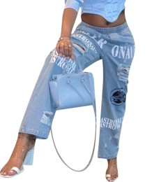 Sexy hellblaue Print zerrissene Jeans