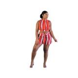 Sommer Casual Stripes Crop Top und Shorts