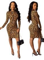 Vestido midi de leopardo sexy con mangas completas