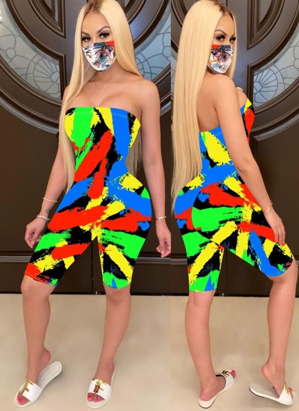 Combinaisons moulantes sexy sans bretelles colorées