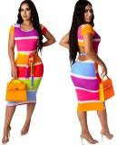 Kesilmiş Seksi Kontrast Midi Elbise Kemerli