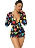 Pijama de mameluco de manga larga con estampado de corazón multicolor