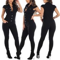 Sommer schwarzer enger Jeansoverall