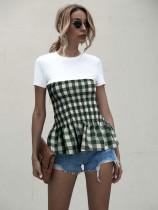 Summer Plaid Schößchenhemd mit rundem Hals