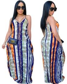 Vestido largo largo africano con tirantes multicolores