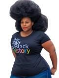 Camisa básica negra con estampado de verano talla grande