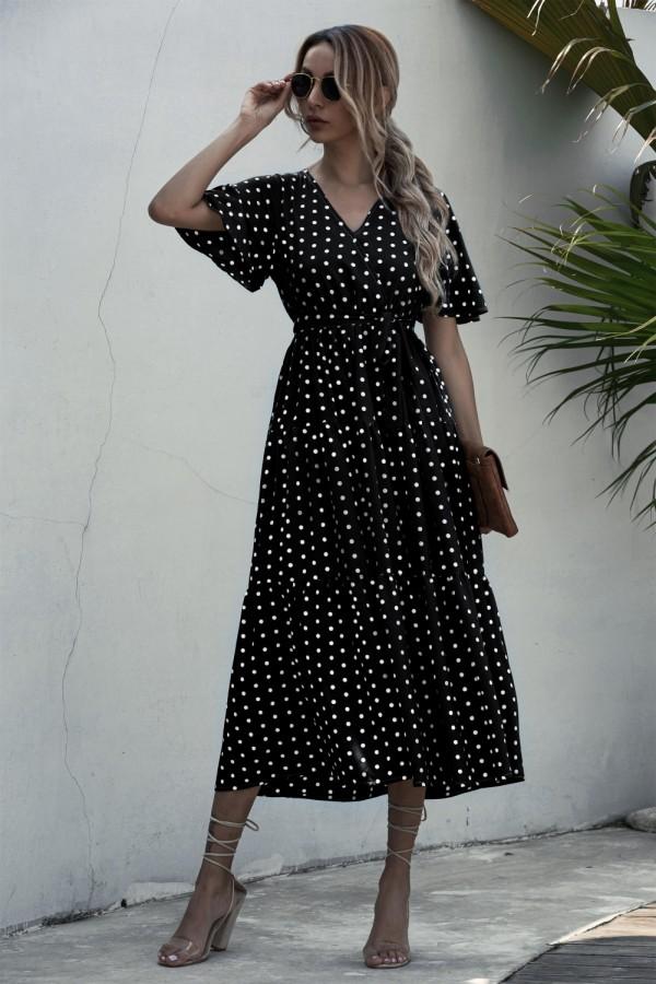 Zomer V-hals Polka lange jurk