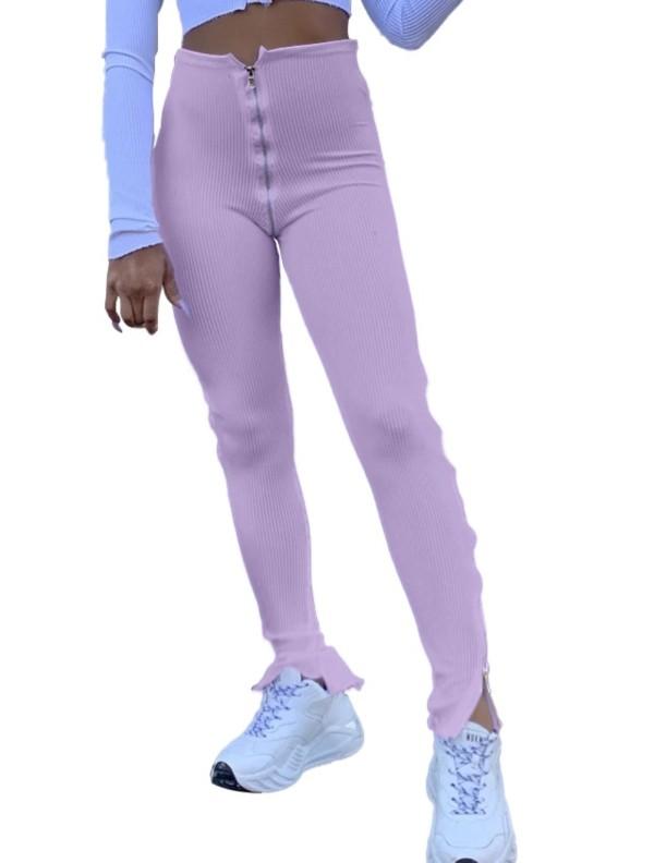 Leggings con cremallera y hendidura de cintura alta sexy
