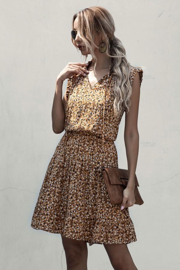 Yazlık V Yaka Çiçekli Kısa Elbise