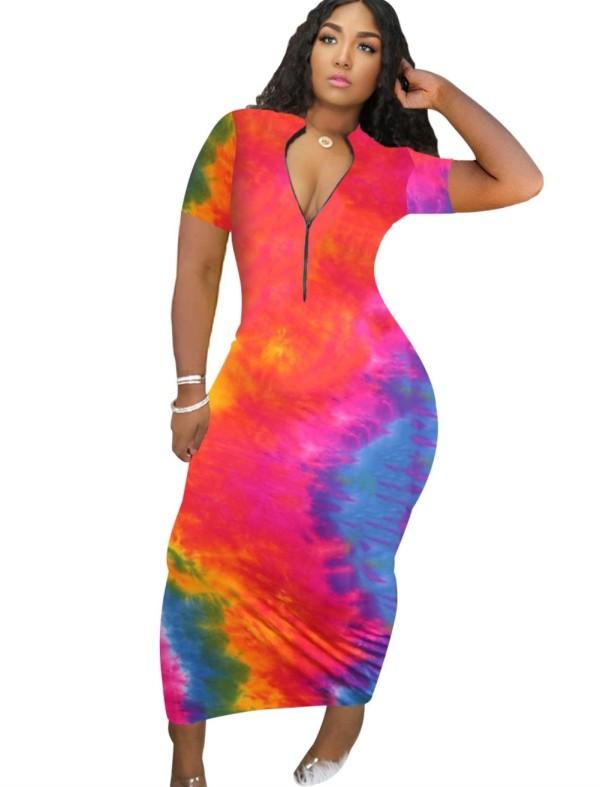 Sexy Tie Dye rits lange jurk