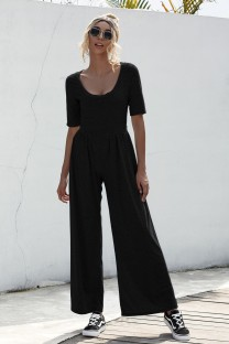 Summer Casual Sheer O-Neck Leisure Jumpsuit