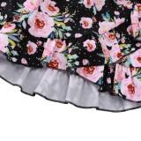 Conjunto de falda de dos piezas con estampado floral de verano para niña