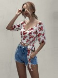 Summer Floral Wrapped Crop Top