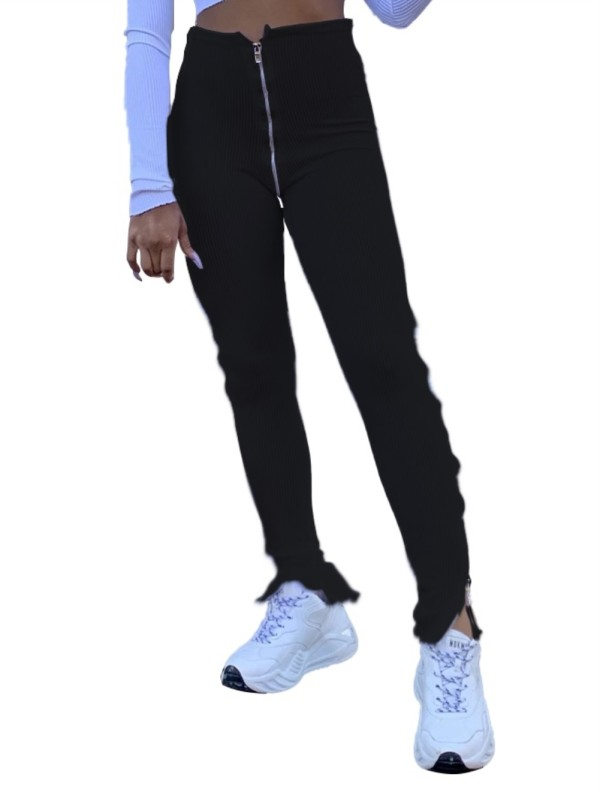 Sexy cintura alta Slit Zipper Leggings