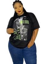 Plus Size Sommer Print Schwarz Basic Shirt