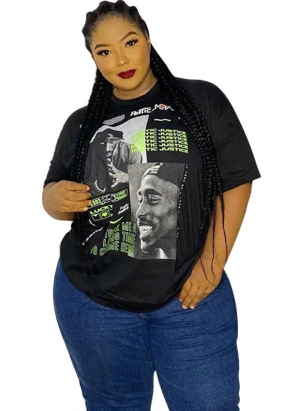 Büyük Beden Yaz Desenli Siyah Basic Gömlek
