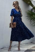 Summer V-Neck Polka Long Dress