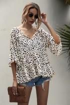 Sommer V-Ausschnitt Print Loose Shirt