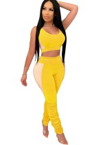 Summer Sexy Contrast Two Piece Bodycon Pants Set