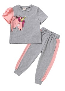 Kids Girl Summer Pink and Grey Shirt and Pants Set
