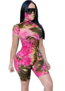 Summer Tie Dye Bodycon Rompers with Face Cover