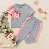 Camicia e pantaloni rosa e grigi per bambina da bambina estivi