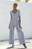 Sommer Casual Sheer O-Neck Freizeit Jumpsuit