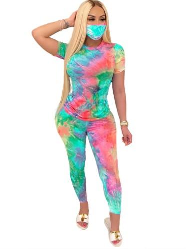 Ensemble de pantalons deux pièces Summer Tie Dye avec couvre-visage