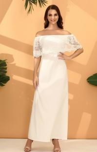 Elegante vestido de noche superior de encaje fuera del hombro