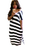Summer Stripes Slit Langes Kleid