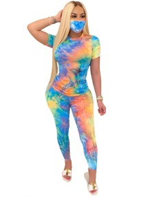 Summer Tie Dye Two Piece Pants Set with Face Cover