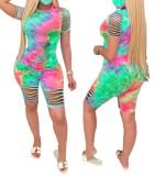 Summer Tie Dye Двухсекционный рваный короткий набор