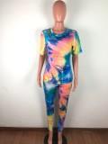 Summer Tie Dye Zweiteilige Hose mit Gesichtsbedeckung