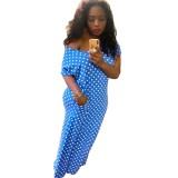 Verão Polka Blue Slit vestido longo