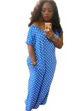 Sommer Polka Blue Slit Langes Kleid