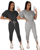 Verano Casual Pantalones de dos piezas en blanco Traje de ocio