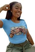 夏のドルプリントOネックシャツ