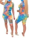 Summer Short Tie Dye Conjunto corto de dos piezas rasgado