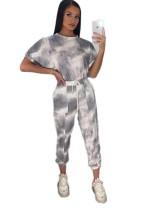 Summer Casual Tie Dye Two Piece Pants Leisure Suit
