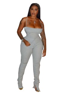 Sexy Strap Stacked Plain Jumpsuit