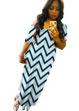 Summer Wavy Stripes Slit Langes Kleid