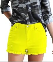 Shorts de mezclilla con adornos de felpa regulares de verano