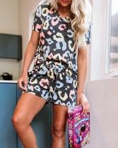 Sommer zweiteilige Leoparden Shorts Pyjama Set